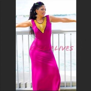 Callie Beaded Lady: Maxi Dress Magenta Purple Gold